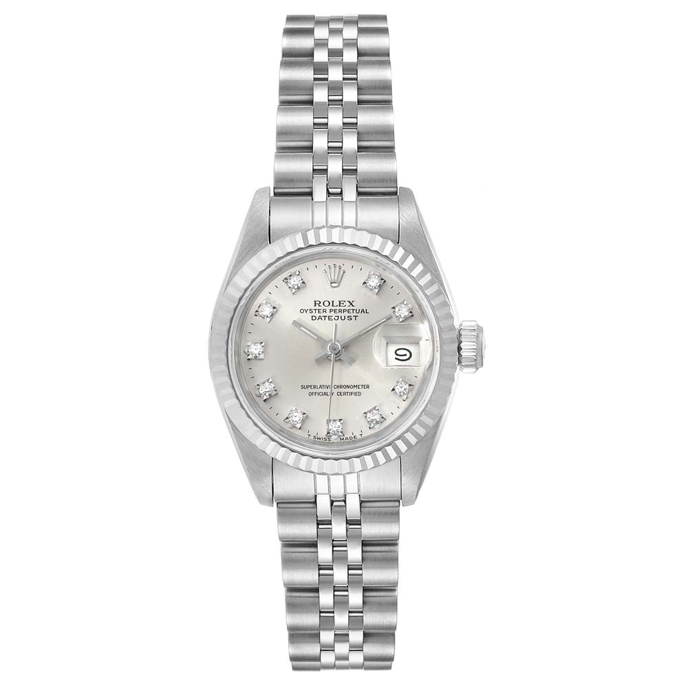 Pre-owned Rolex Silver Diamonds 18k White Gold And Stainless Steel Datejust 69174 Automatic Women's Wristwatch 26 Mm