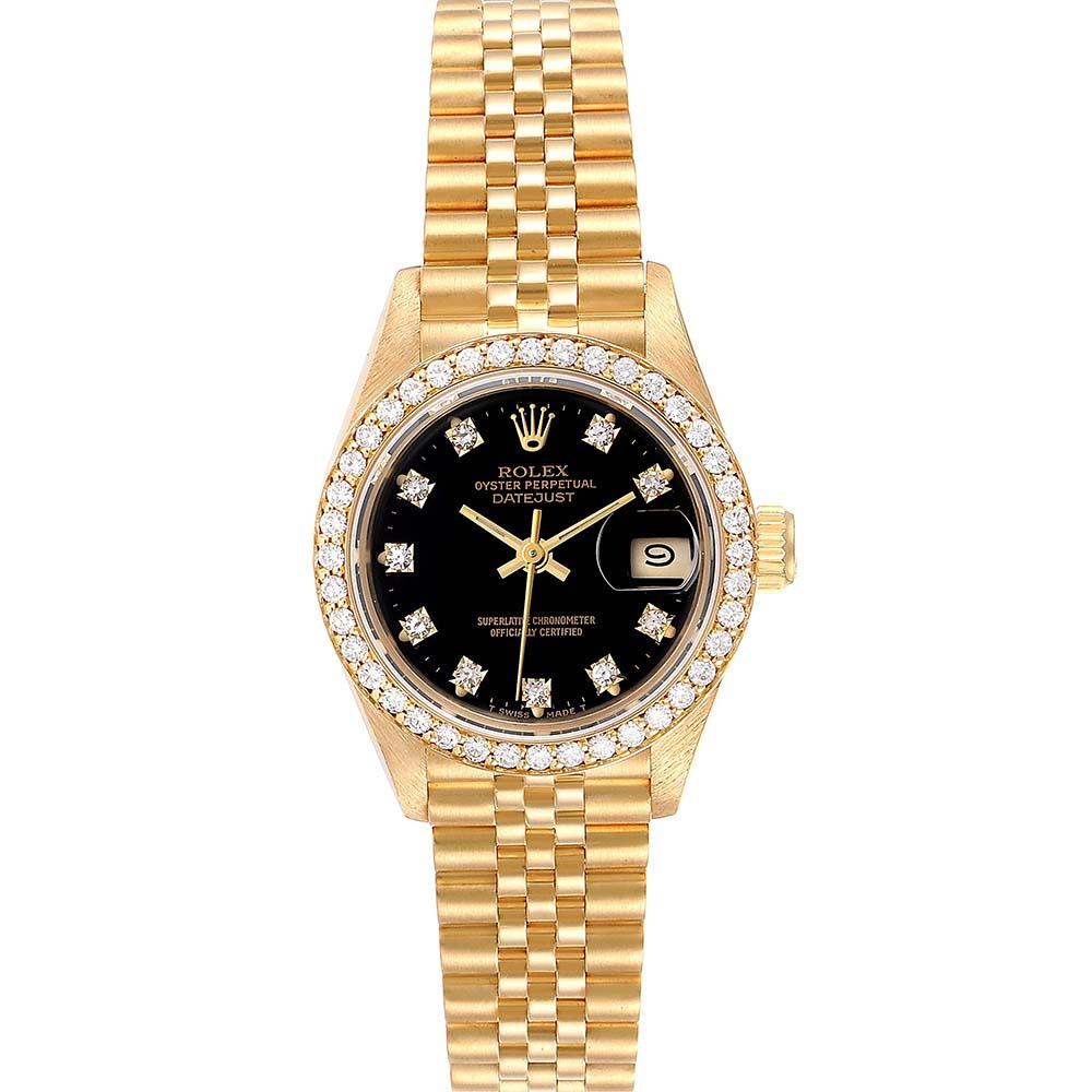 Pre-owned Rolex Black Diamonds 18k Yellow Gold President Datejust 69138 Women's Wristwatch 26 Mm
