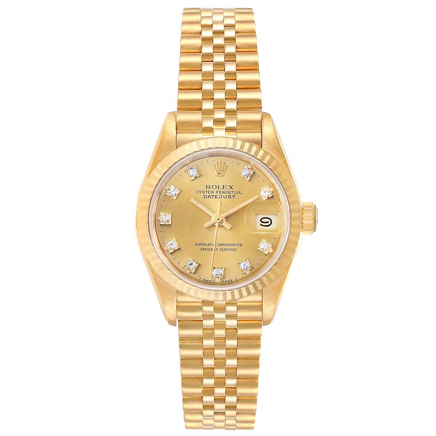 Pre-owned Rolex Champagne Diamonds 18k Yellow Gold President Datejust 69178 Women's Wristwatch 26 Mm