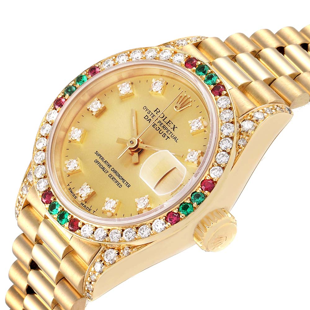 Rolex Champagne Diamonds 18K Yellow Gold Ruby And Emerald President Datejust 69038 Women's Wristwatch 26 MM  - buy with discount