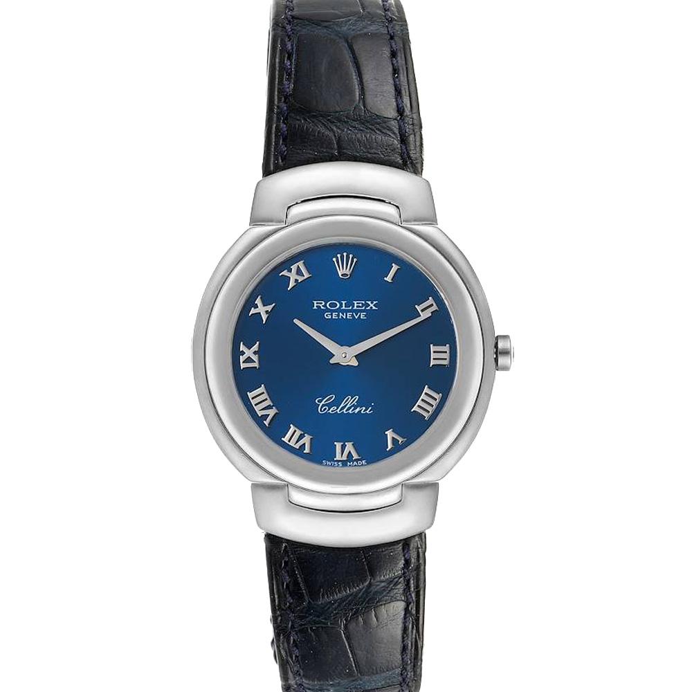 Pre-owned Rolex Blue 18k White Gold Cellini 6622 Women's Wristwatch 33 Mm