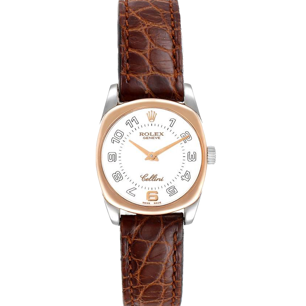 Pre-owned Rolex White 18k White And Rose Gold Cellini Danaos 6229 Women's Wristwatch 26.5 Mm