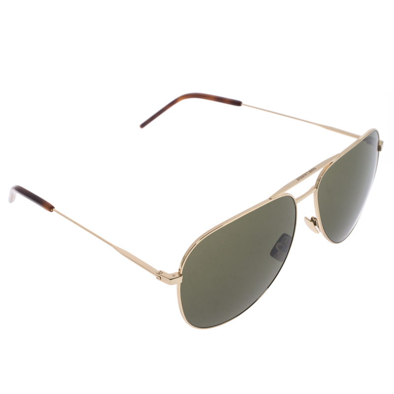 Saint Laurent Paris Rose Gold Tone/ Green Classic 11 Aviator Sunglasses