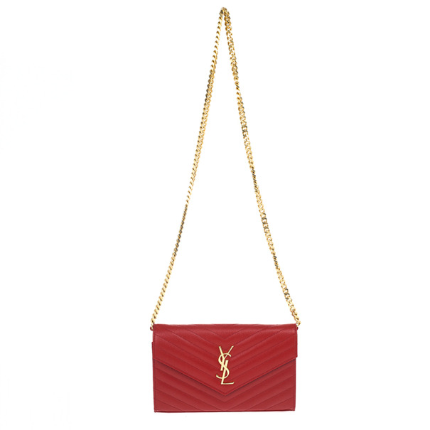 9455a81441eb Yves Saint Lau Red Candre Large Quilted Shoulder Bag