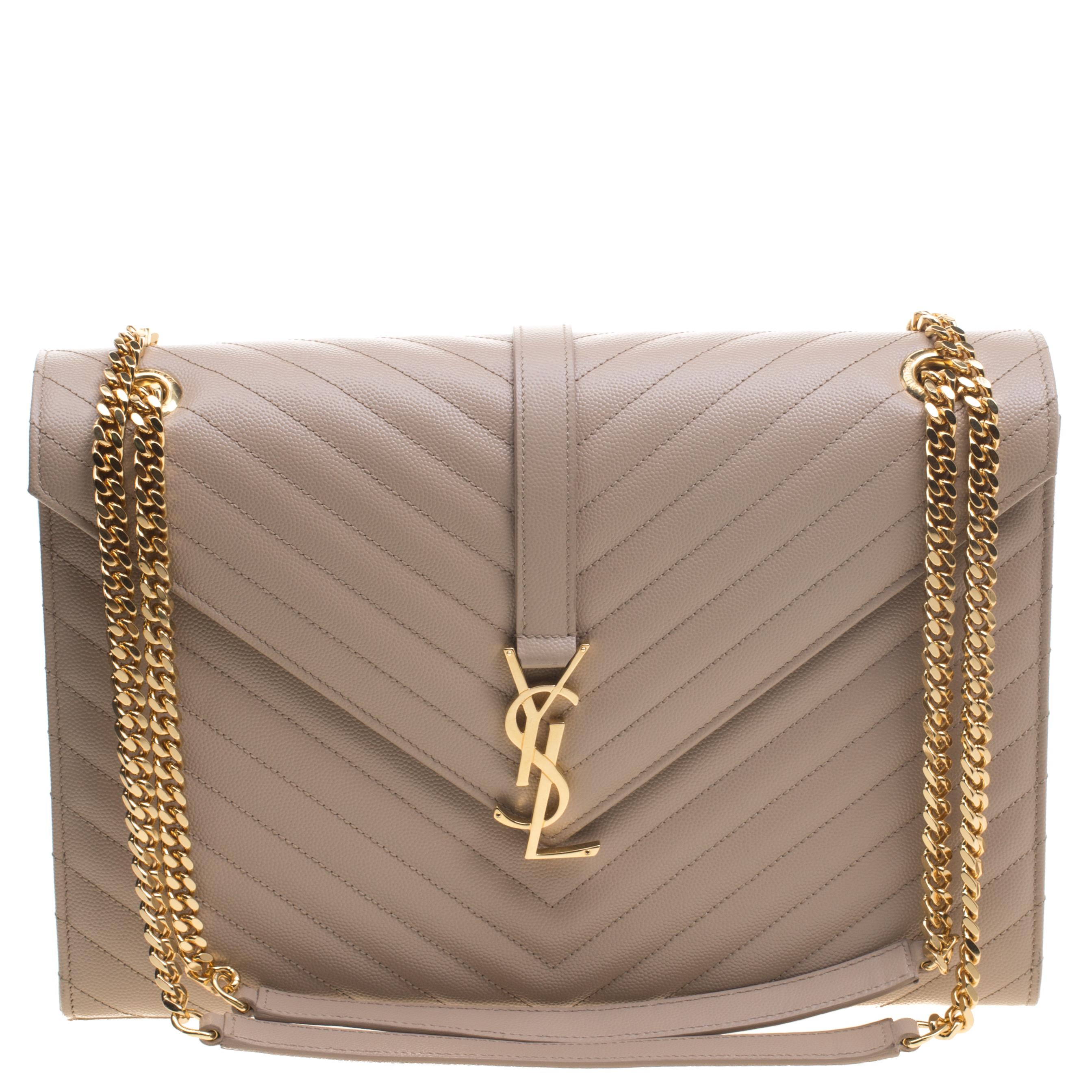 581bf7f99cd Buy Saint Laurent Paris Beige Matelasse Leather Large Cassandre Flap ...