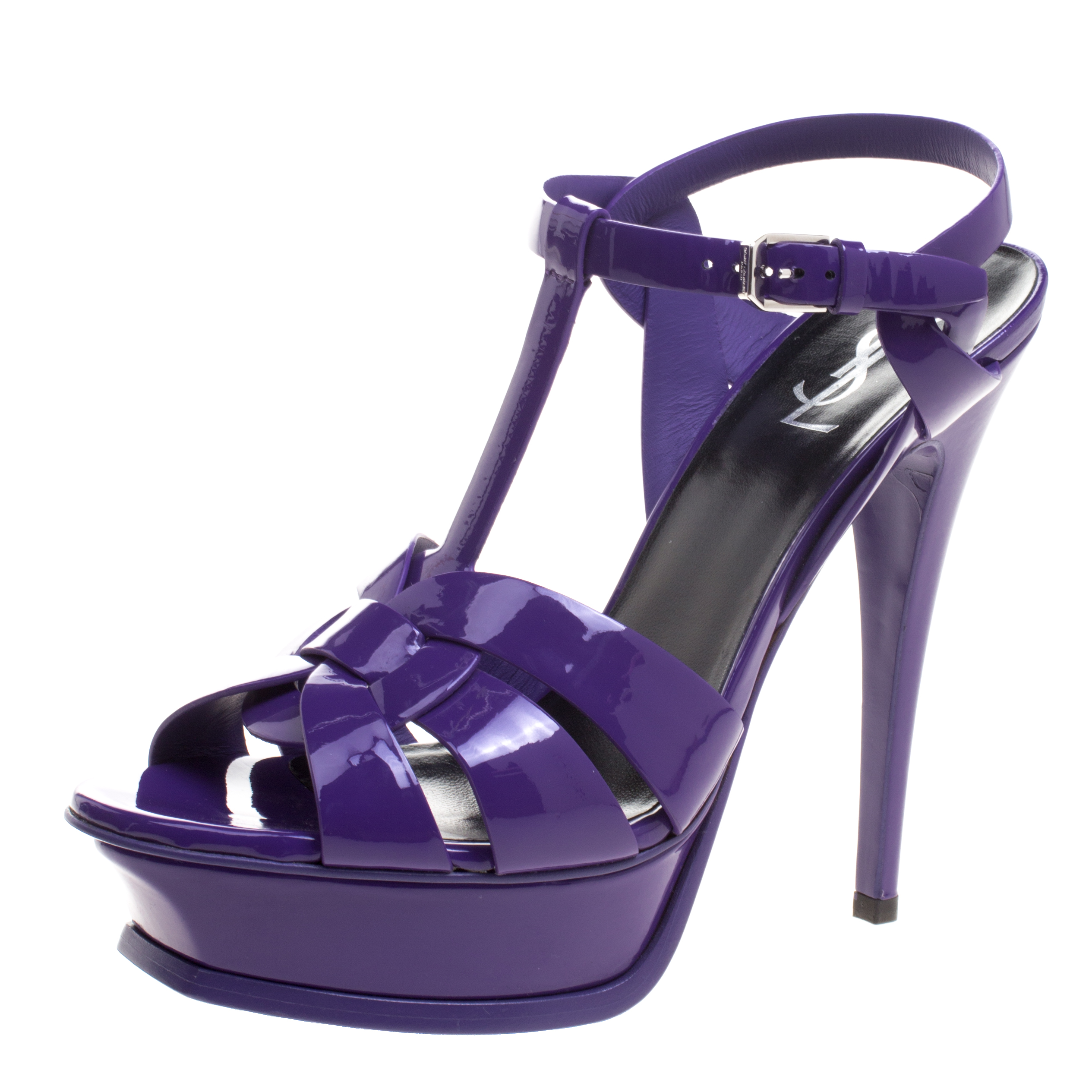 75795f2b718 Saint Laurent Paris Purple Patent Leather Tribute Platform Sandals Size 39