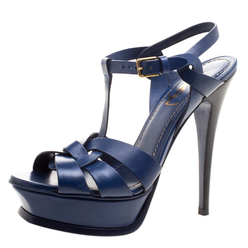 79e09ecb78b ... Yves Saint Laurent Indigo Blue Leather Tribute Sandals Size 37.5.  nextprev. prevnext