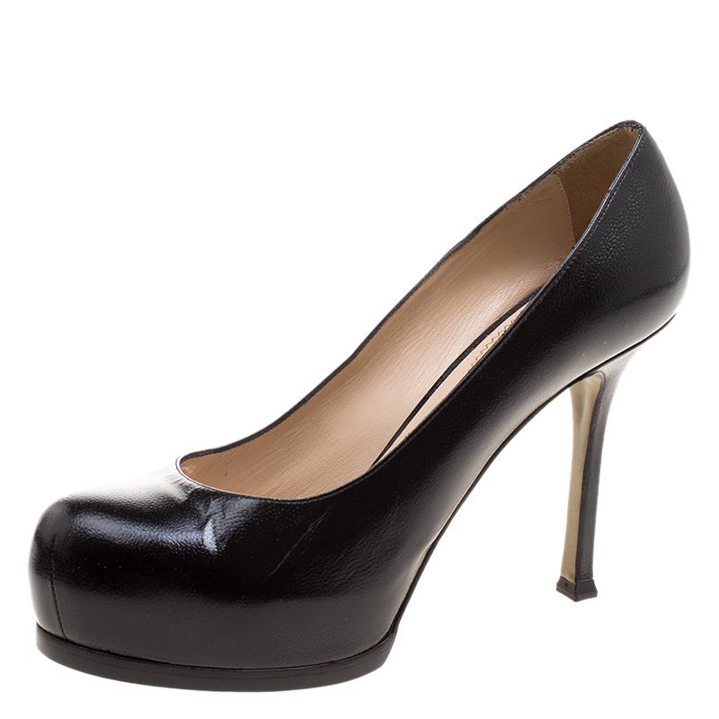 c83b1a7d8f3 Yves Saint Laurent Black Pebbled Leather Tribtoo Pumps Size 37.5