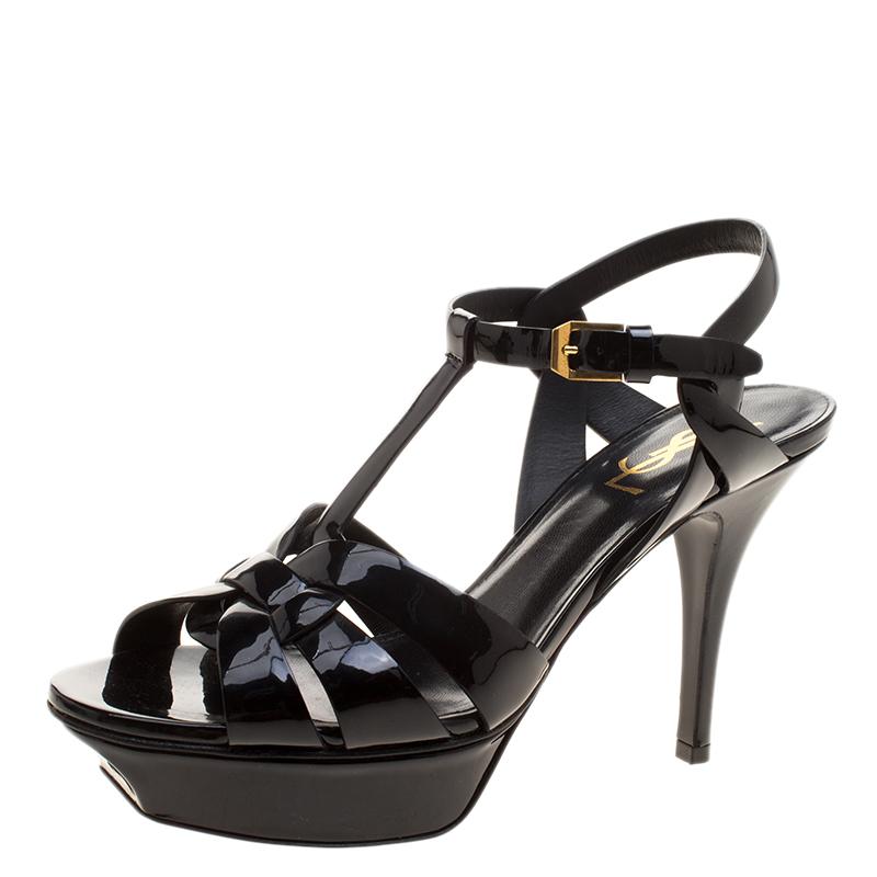 7b5acc207e12 ... Black Patent Leather Platform Tribute Sandals Size 38. nextprev.  prevnext