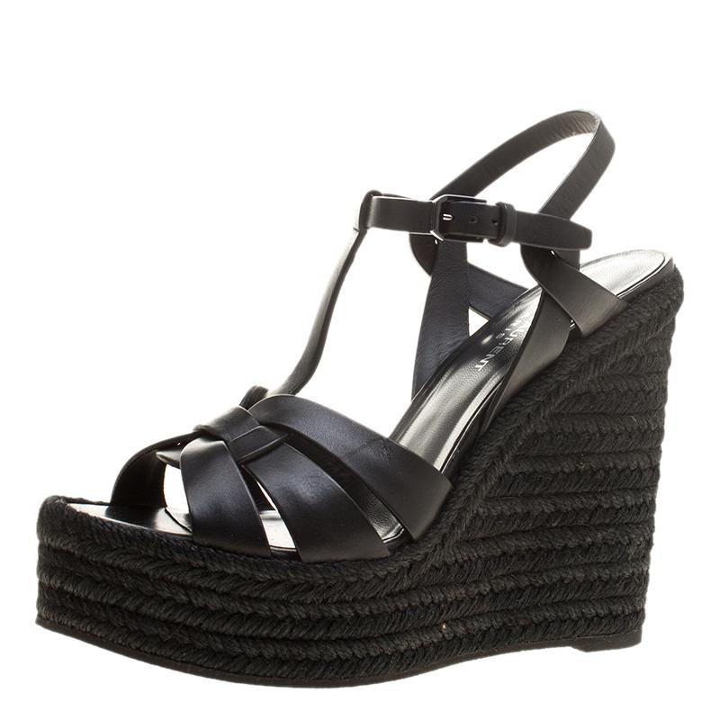 51f1a8fe0c3 ... Saint Laurent Paris Black Leather Tribute Espadrilles Wedge Sandals  Size 39. nextprev. prevnext