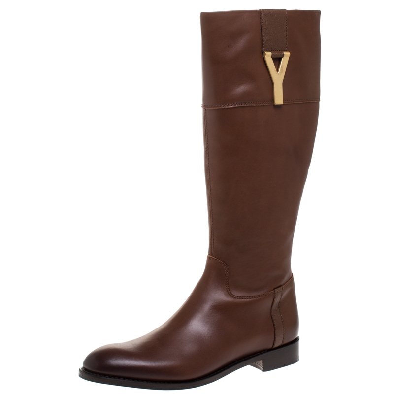 Saint Laurent Paris Brown Leather Chyc Knee High Boots Size 39.5
