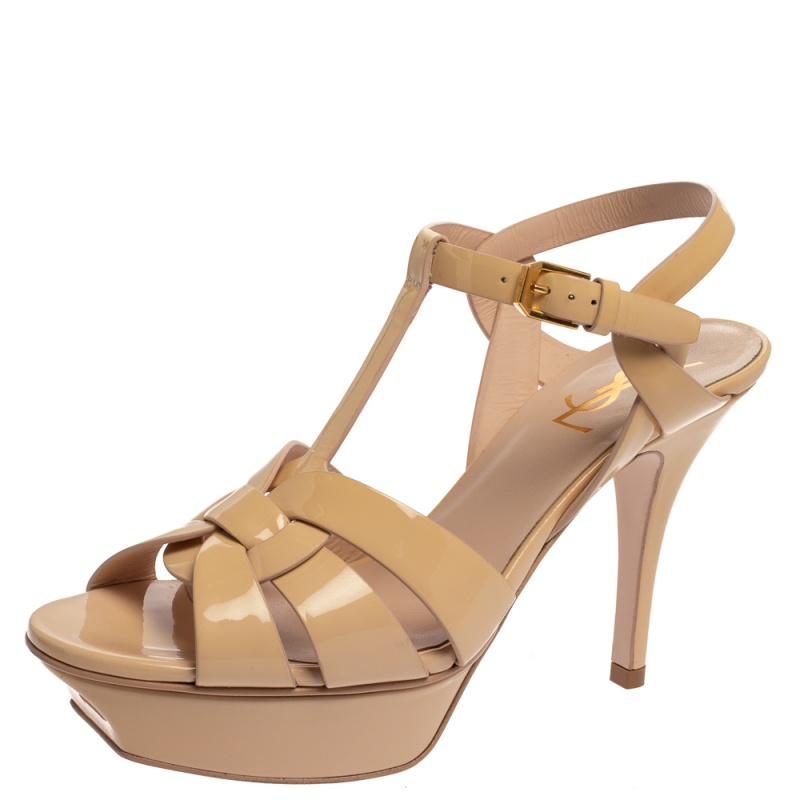 Saint Laurent Paris Beige Patent Leather Tribute Sandals Size 37