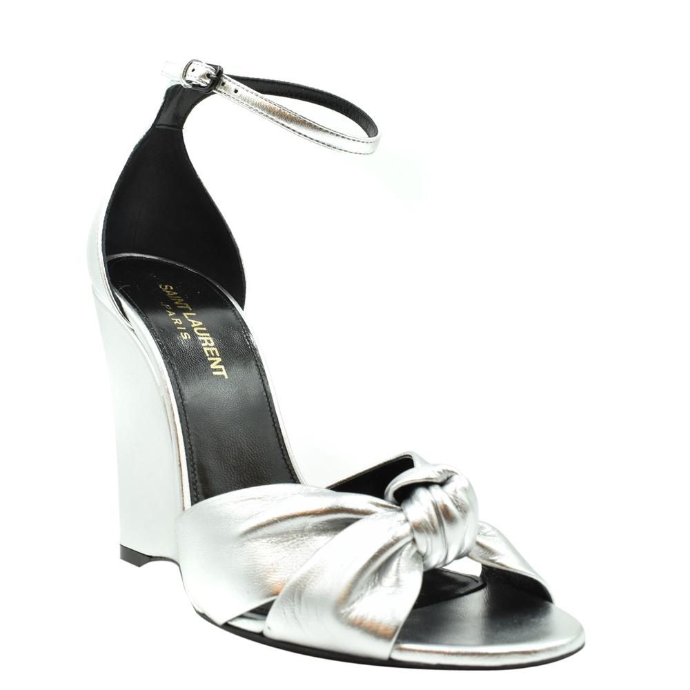 Saint Laurent Paris Metallic Silver Lila Wedge Sandals Size EU 36.5  - buy with discount