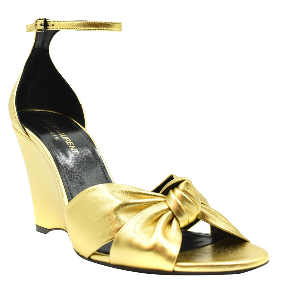 Saint Laurent Paris Metallic Gold Lila Wedge Sandals Size EU 37.5  - buy with discount