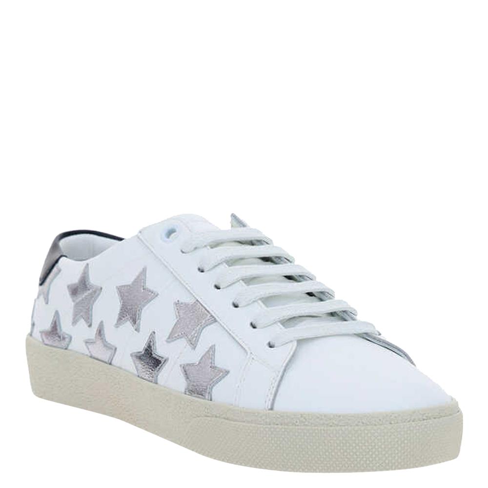 Saint Laurent Paris White Leather Court Classic Metallic California Sneaker Size EU 40