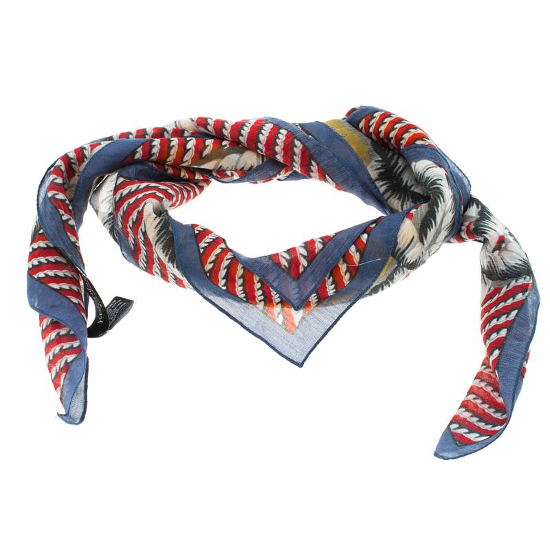 Купить со скидкой Saint Laurent Paris Multicolor Starfish Print Cotton and Silk Square Scarf