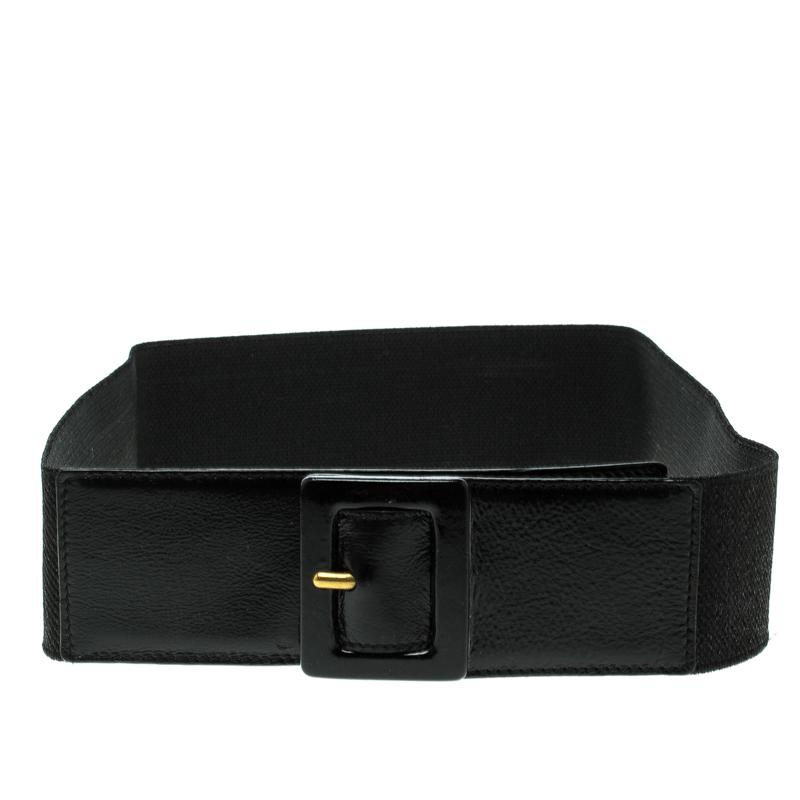 Купить со скидкой Saint Laurent Black Elastic Waist Belt 85cm