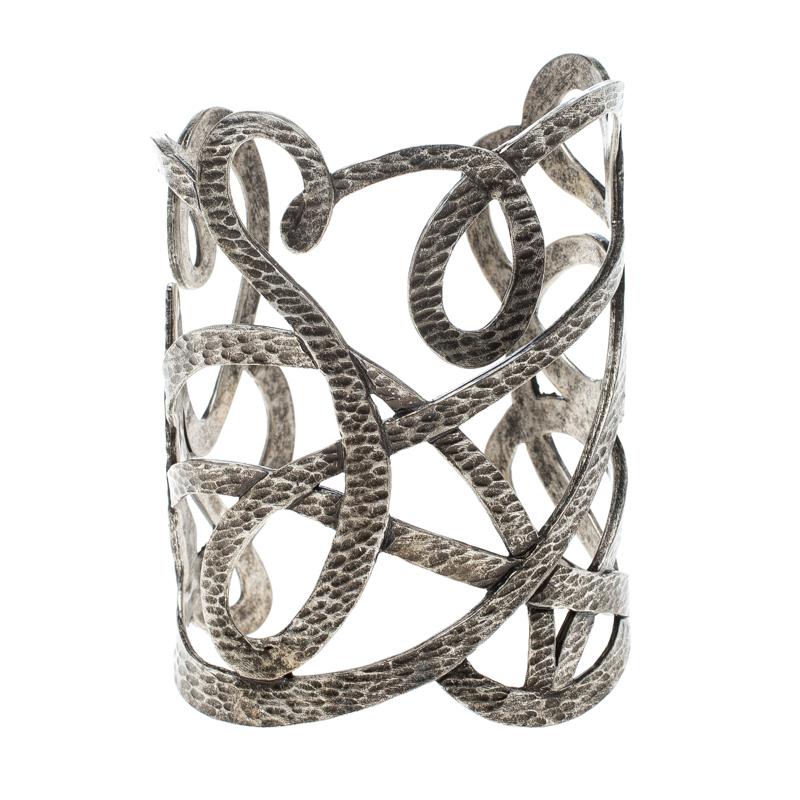 Купить со скидкой Saint Laurent Paris Textured Cut-out Silver Tone Open Cuff Bracelet