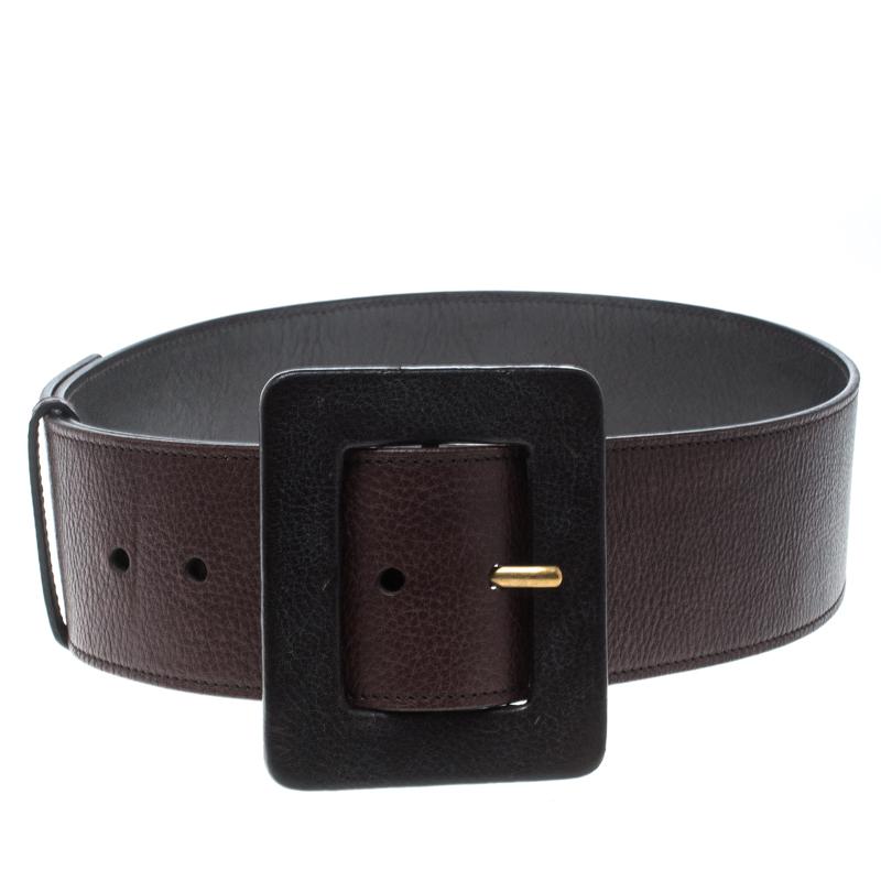 440aeb2321 Saint Lau Dark Brown Leather Waist Belt 75cm 157017 At Best