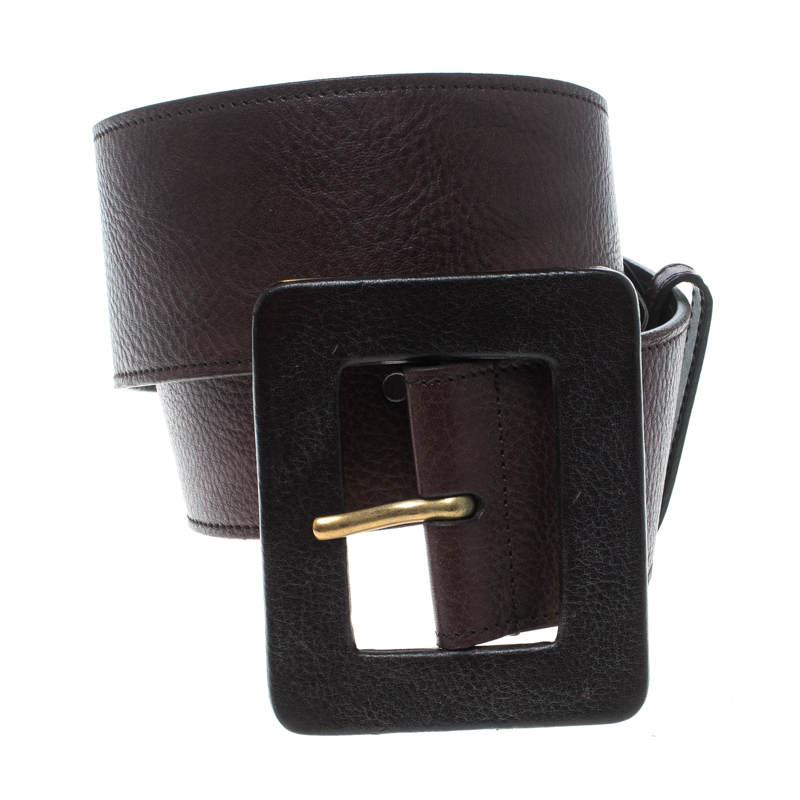 Купить со скидкой Saint Laurent Dark Brown Leather Waist Belt 75cm