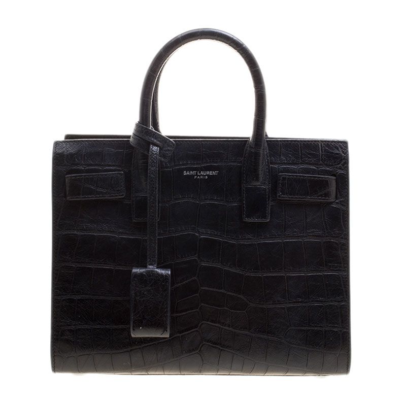 e019bf90109 ... Saint Laurent Black Croc Embossed Leather Nano Classic Sac De Jour Tote.  nextprev. prevnext
