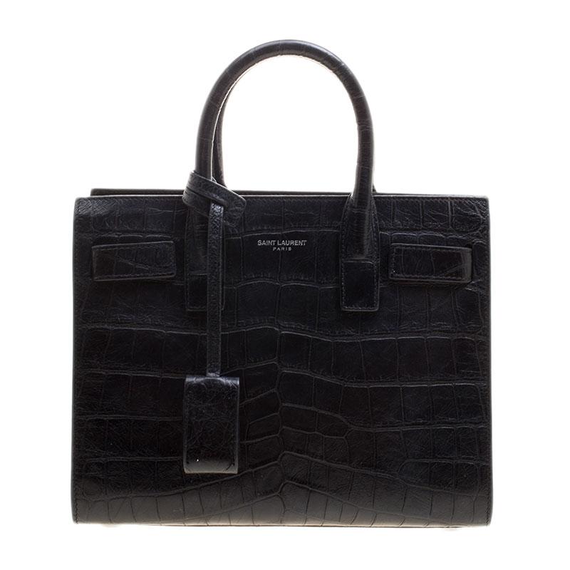 0d469e556c78 ... Saint Laurent Black Croc Embossed Leather Nano Classic Sac De Jour  Tote. nextprev. prevnext