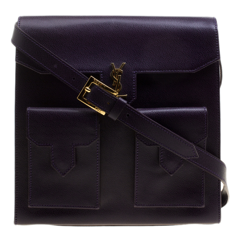 0a316731be Buy Saint Laurent Paris Purple Leather Double Pocket Crossbody Bag ...