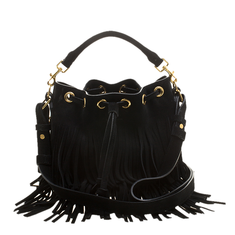 91d78fcbef0 ... Saint Laurent Paris Black Suede Small Emmanuelle Fringed Bucket Bag.  nextprev. prevnext