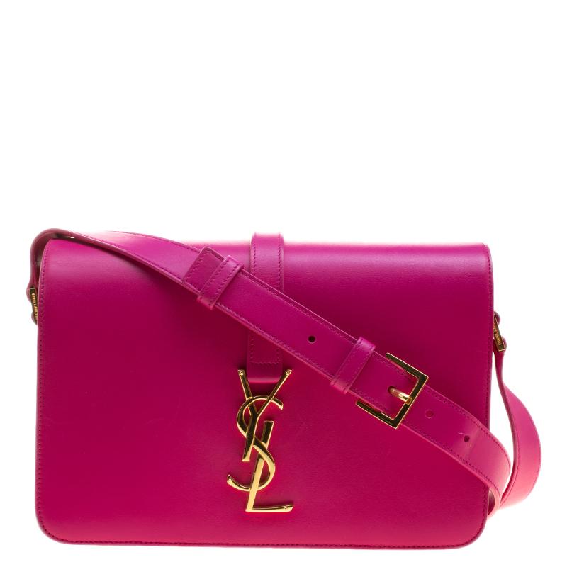 Buy Saint Laurent Fuschia Leather Monogram Université Flap Bag ... 51db062cc9901