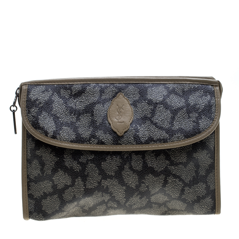 Saint Laurent Beige/Brown Printed Coated Canvas Cosmetic Pouch