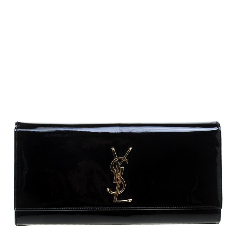 Saint Laurent Black Patent Leather Cassandre Clutch