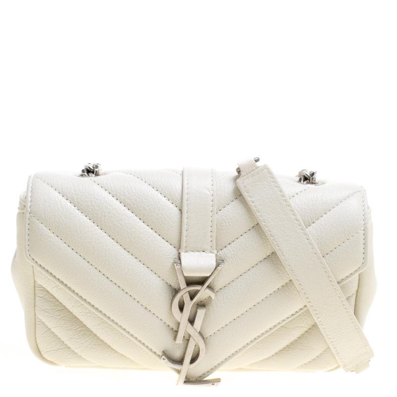 f58cd54808b ... Saint Laurent White Matelassé Leather Baby Monogram Crossbody Bag.  nextprev. prevnext