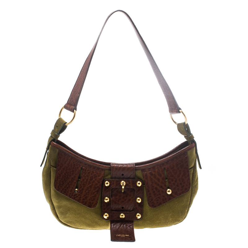 255f4d377b Saint Laurent Green/Brown Suede and Leather Shoulder Bag