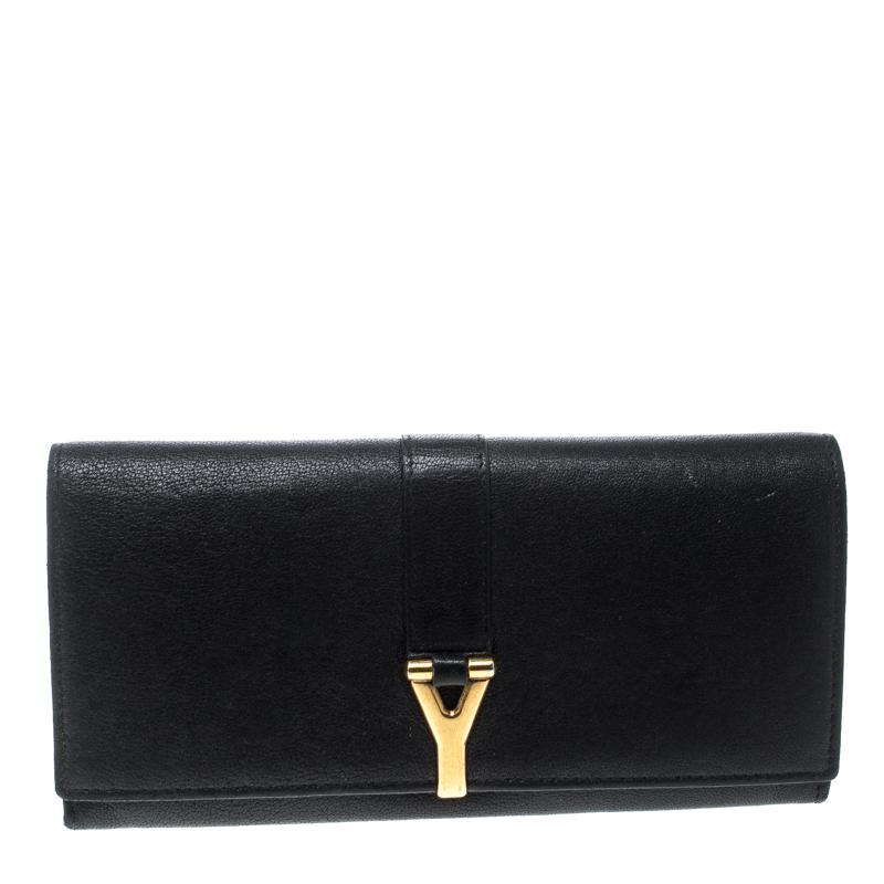 Saint Laurent Black Leather Y Line Continental Wallet