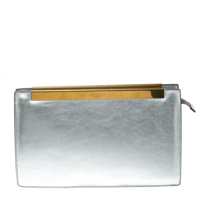 Saint Laurent Paris Metallic Silver Leather Lutetia Clutch