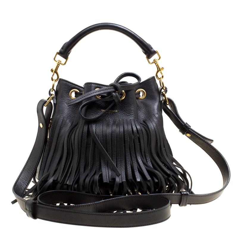 fc2f4a4574 ... Saint Laurent Black Leather Small Emmanuelle Fringed Bucket Bag.  nextprev. prevnext