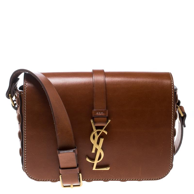 Buy Saint Laurent Brown Leather Medium Monogram Université Flap ... 65f44479d4b81