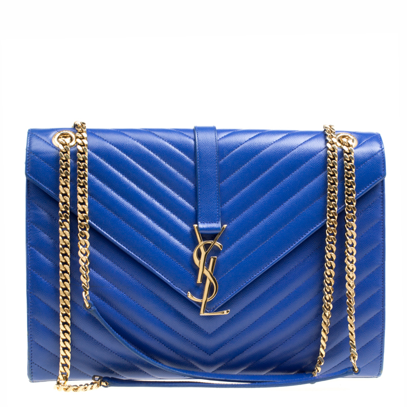 Buy Saint Laurent Blue Leather Monogram Envelope Shoulder Bag 167884 ... 3573db0d90a53