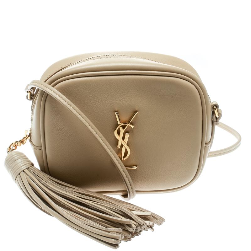 Saint Laurent Beige Leather Lou Camera Shoulder Bag