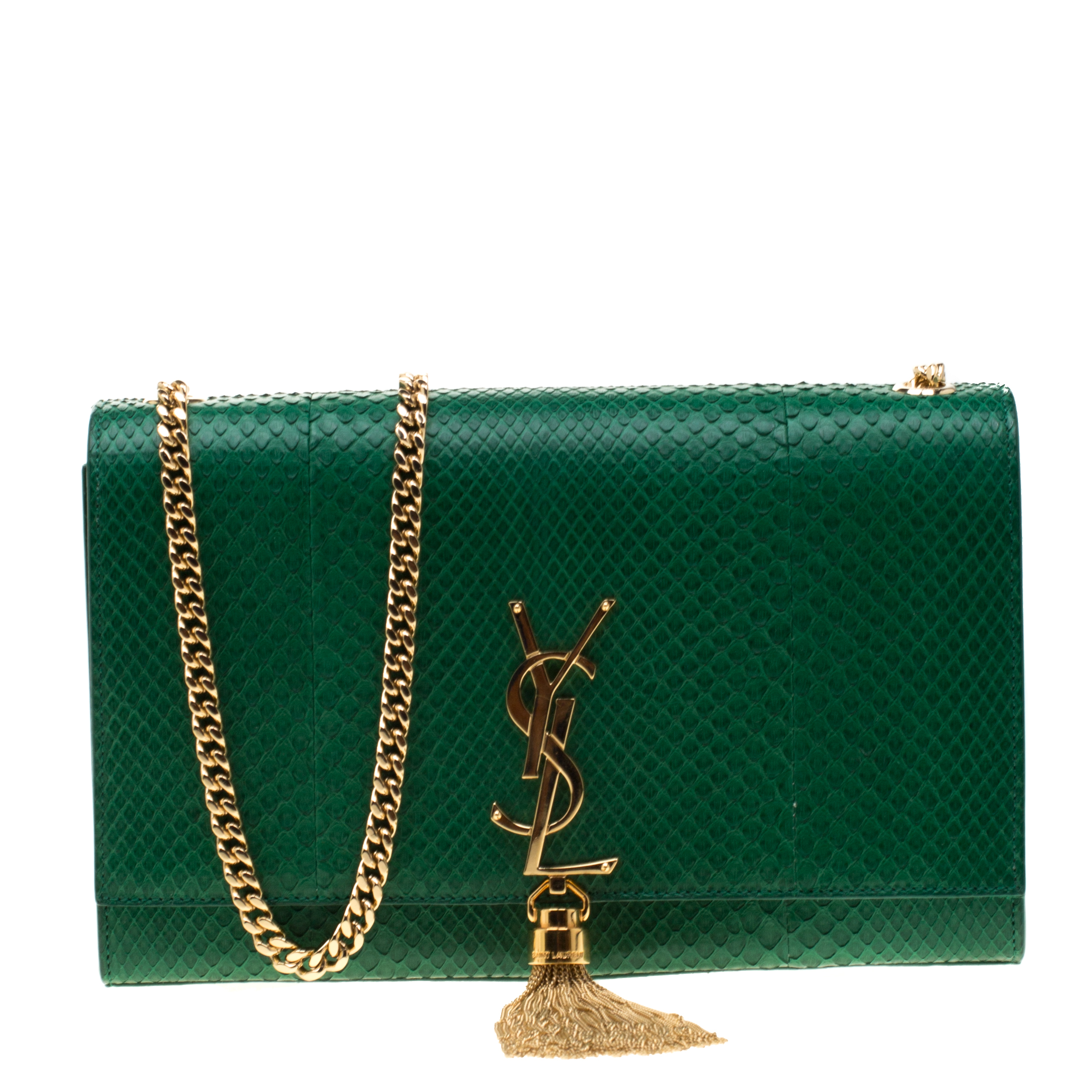 Saint Laurent Green Python Kate Monogram Shoulder Bag