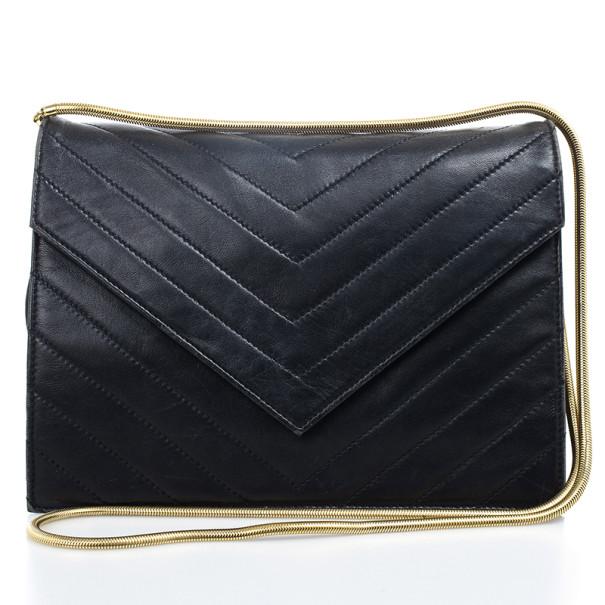 Buy Yves Saint Laurent Vintage Chevron Black Envelope Clutch Bag 20217 at  best price  8d89c5647572d