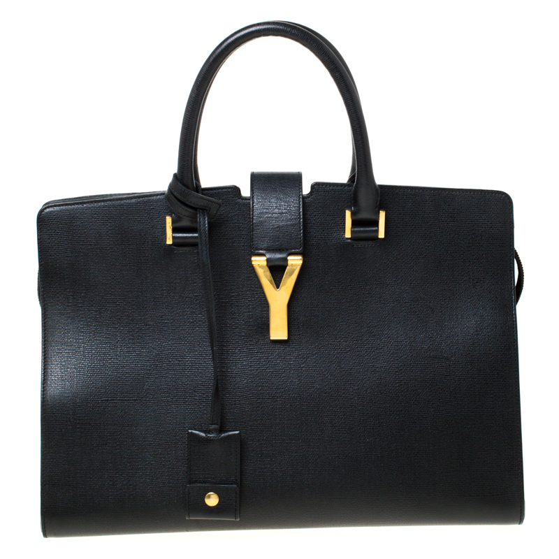 Saint Laurent Black Textured Leather Medium Cabas Chyc Tote