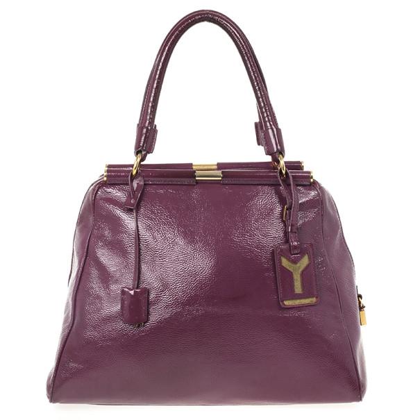 Yves Saint Laurent Purple Patent Majorelle Medium Top Handle