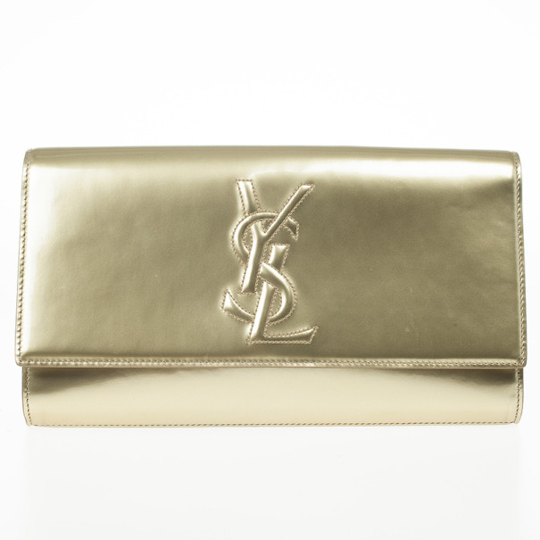 fde12b463272d Buy Yves Saint Laurent Gold Patent  Belle De Jour  Flap Clutch 24239 ...