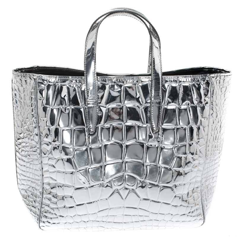 Saint Laurent Silver Croc Embossed Patent Leather Raspail Tote
