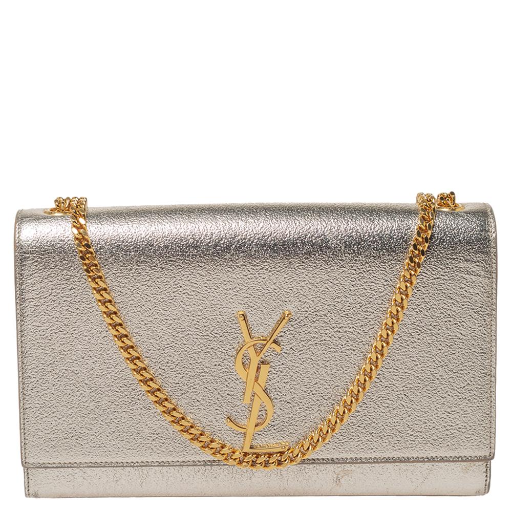 Saint Laurent Paris Metallic Gold Leather Medium Kate Shoulder Bag