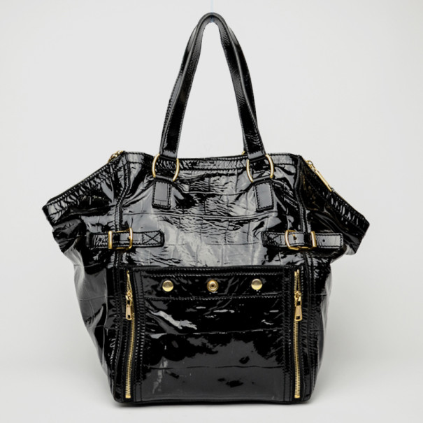 Yves Saint Laurent Downtown Black Patent Leather Bag
