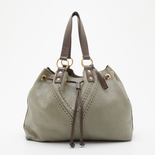 8e91f6772b23 ... Yves Saint Laurent Pale Green and Brown Leather Double Sac Y Tote.  nextprev. prevnext