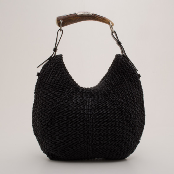 Yves Saint Laurent Black Woven Straw Mombosa Hobo