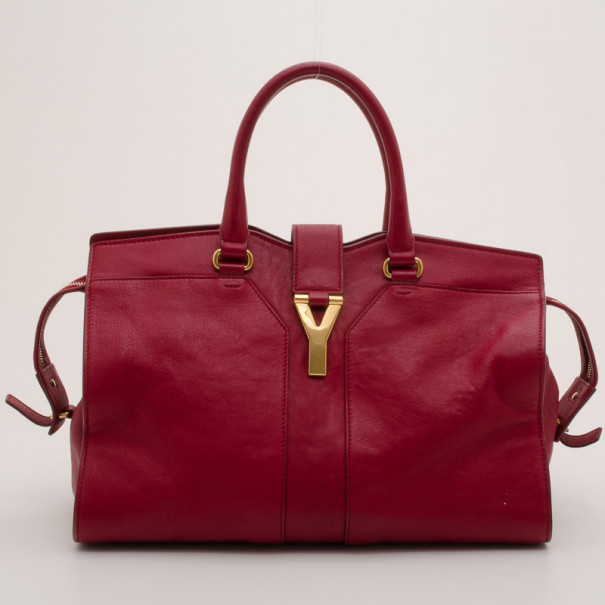 ... Yves Saint Laurent YSL Cabas Chyc Burgundy Leather Satchel. nextprev.  prevnext 18d54fb9237fd